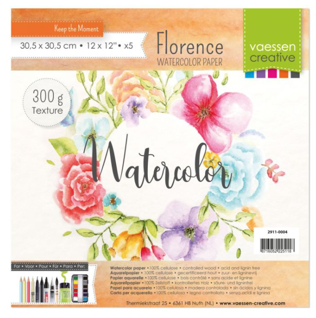 "Florence Water Color Paper 300 gram, Off-White 12 x 12 "" 5 vel (2911-0004)"
