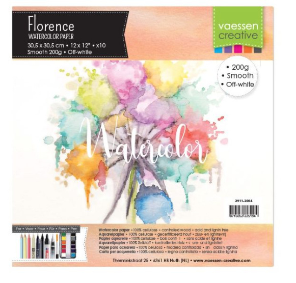 """Florence Water Color Paper 200 gram, Off-White 12 x 12"""" 10 vel (2911-2004)"""