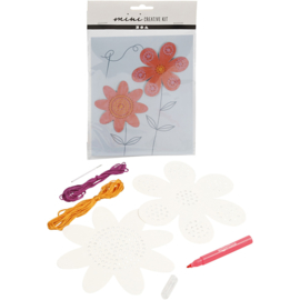 Mini Creatieve Set, borduur figuur - bloemen