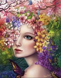 Meisje met Bloemen 40x50
