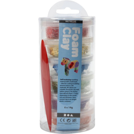 Foam Clay®, kleuren assorti, metallic, 6x14gr