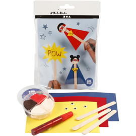 Mini Creatieve Set, , ijsstokjesfiguren - superhero