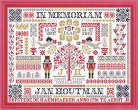 Jan HoutmanHet is deze maand alweer 5 jaar geleden dat Jan is overleden,  om hem te gedenken is er een nieuwe merklap gemaakt met zijn patronen.  Design size W 336 x H 260