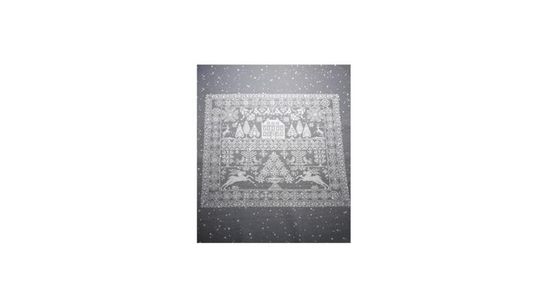 Janita Kerstmerklap op grijze murano met witte stip pakket