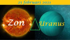 Zon driehoek Uranus - 25 februari 2021