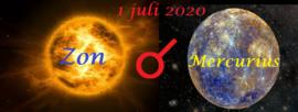 Zon conjunct Mercurius - 1 juli 2020