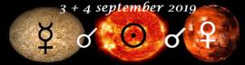 Mercurius conjunct de Zon en Mars - 3 en 4 september