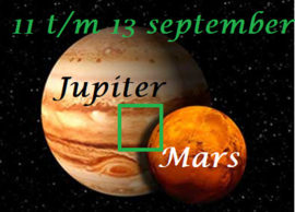 Mars vierkant Jupiter 11 t/m 13 september