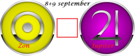 Zon vierkant Jupiter - 8 en 9 september