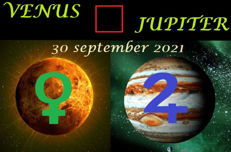 Venus vierkant Jupiter - 30 september 2021