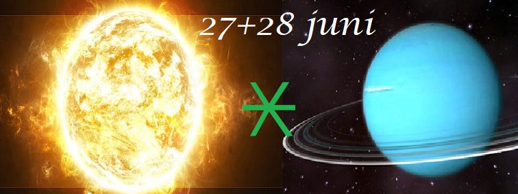 Zon sextiel Uranus - 27+28 juni
