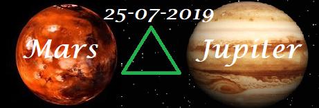 Mars driehoek Jupiter 25-07-2019
