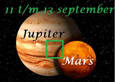 Mars vierkant Jupiter 11 t/m 13 september