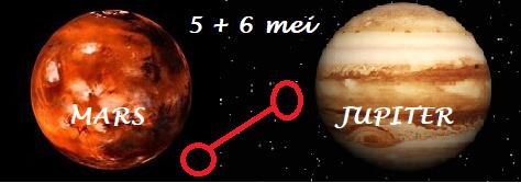 Mars oppositie Jupiter 5+6 mei