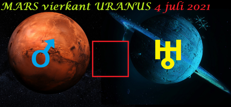 Mars vierkant Uranus - 4 juli 2021