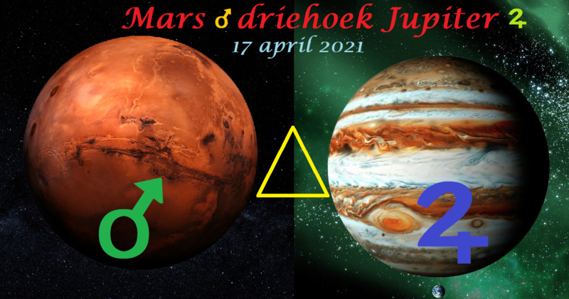 Mars driehoek Jupiter - 17 april 2021