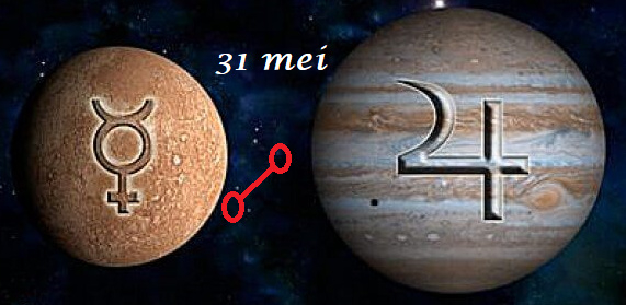 Mercurius oppositie Jupiter - 31 mei