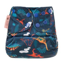 Petite Crown Pocket/zwemluier Plus (XL) 'Dinos after Dark'