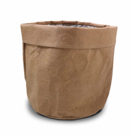 SIZO paper bag natural | Leren look D25 H25cm