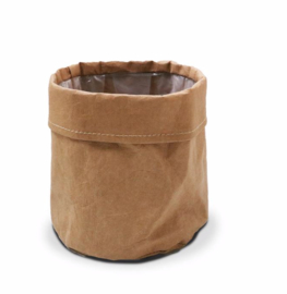 SIZO paper bag natural | Leren look D15 H15cm