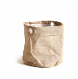 SIZO jute bag natural/metal ring D13 H13cm