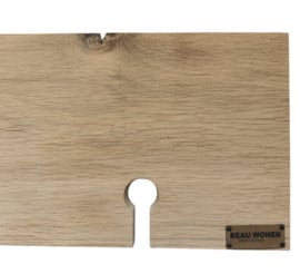 Beau Wonen Badplank Eikenhout standaard 80 cm met tablet sleuf en 2x wijnglashouder