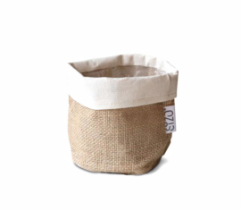 SIZO jute bag natural/white D11 H11cm