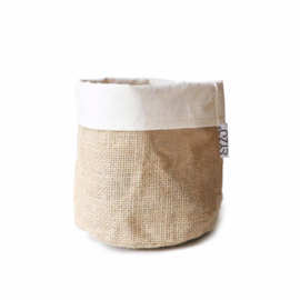 SIZO jute bag natural/white D15 H15cm