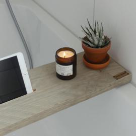 Beau Wonen Badplank steigerhout standaard 80 cm met tablet sleuf en wijnglashouder