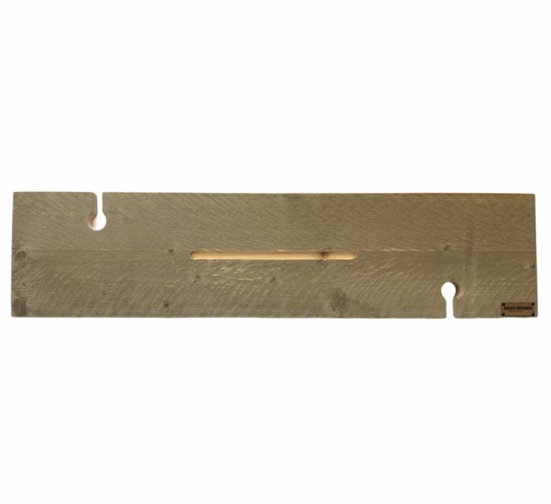Beau Wonen Badplank steigerhout standaard 80 cm met tablet sleuf en 2x wijnglashouder