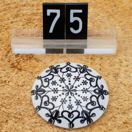 Switch Steen 30mm Mandala Wit-Zwart
