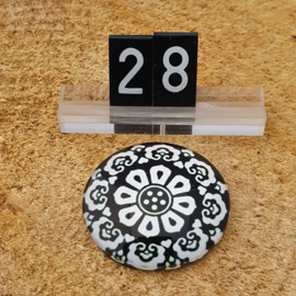 Switch Steen 30mm Bloem Zwart-Wit