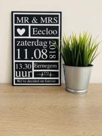 Houten bord Mr & Mrs
