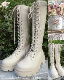 Creme veter-boots, met afneembare kettingen