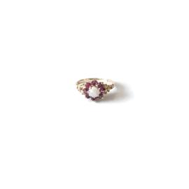Ruby Opal Flower Ring