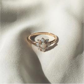 Opal Flower 9 Karat Gold Ring