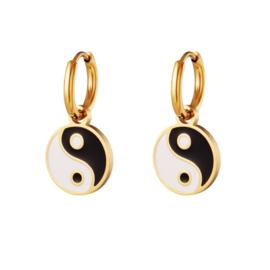 Yin Yang Coin Earrings