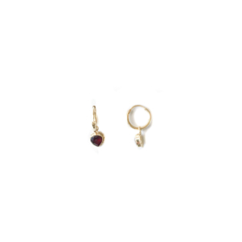 Garnet Heart Earrings