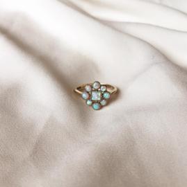 Opal Floral Cluster Ring