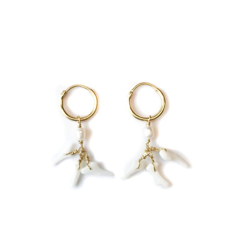White Coral Pearl Earrings