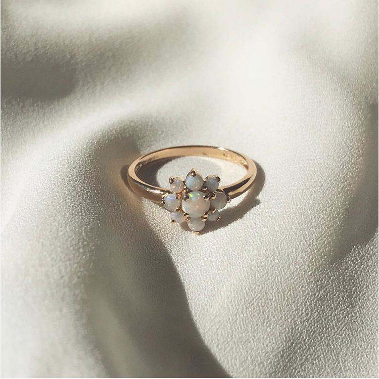 Opal Flower 9 Karat Gold Ring