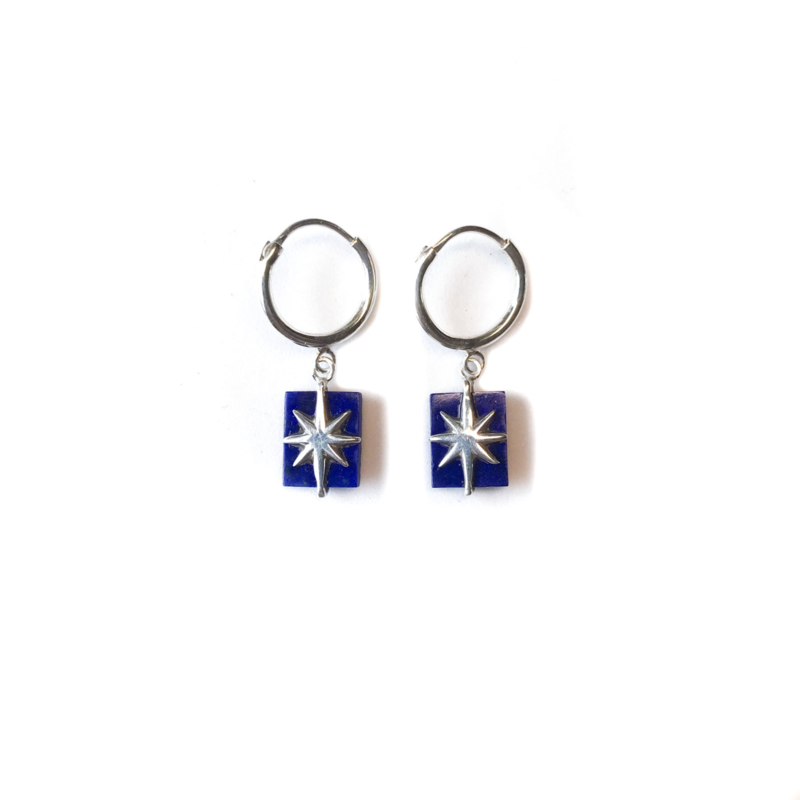 Lapis Star Earrings