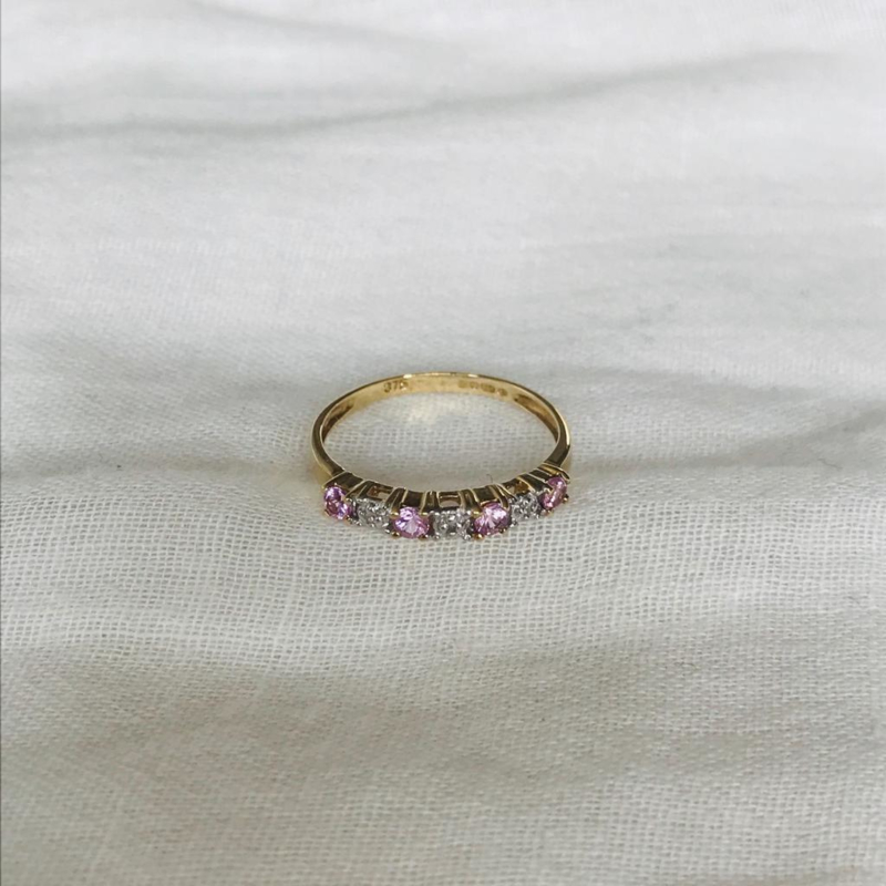Eternity Pink Topaz 9 Karat Ring