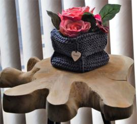 Handmade opbergmandje jeansblauw maat S