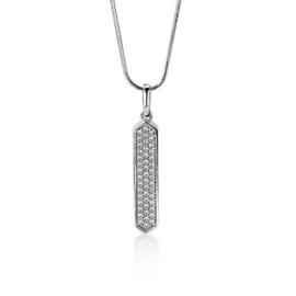 Zinzi zilveren hanger vertikale lijn met cubic zirconia