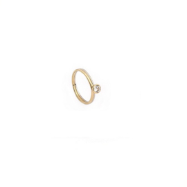 Handgemaakte ring in bicolor goud met diamant