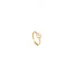 Handgemaakte ring in geel goud met cubic zirconia