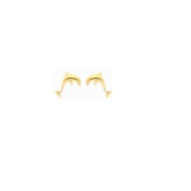 Handgemaakte oorbellen 'dolfijn' in geel goud