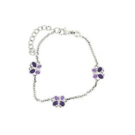 Orage Kids zilveren armbandje met paarse vlindertjes
