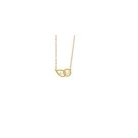Orage plaqué gouden ketting met 'toi et moi' hanger met cubic zirconia